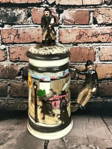 Vintage Fire Fighter Beer Stein With Lid Firemen Collectible