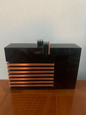 Nathalie Trad Box Clutch Black with Rose Gold Accents and Magnetic Closure