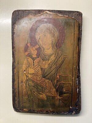 Rustic Byzantine Greek Orthodox Madonna And Child Icon Handmade On Rough Wood