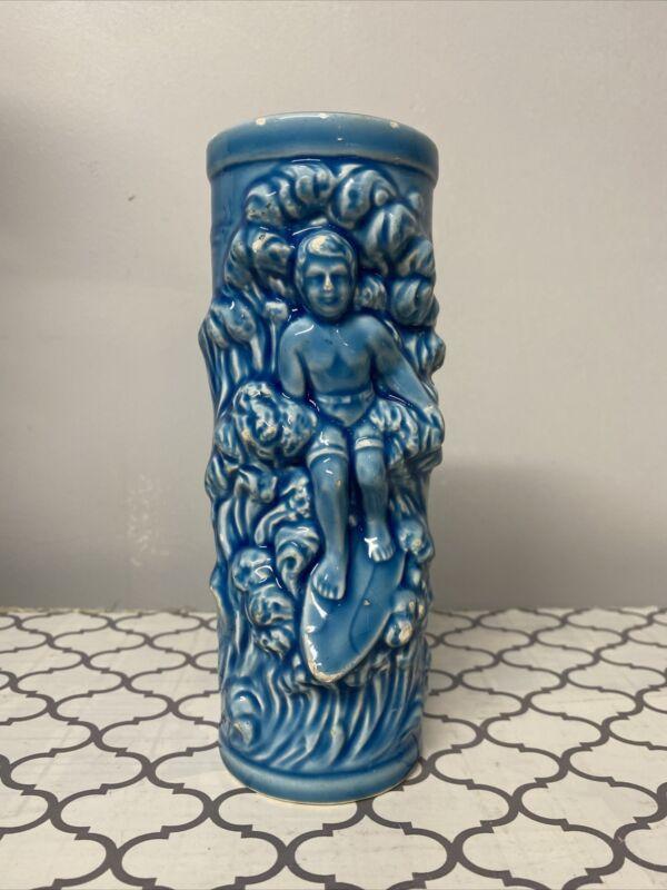 Vintage Blue Surfer Orchids of Hawaii Tiki Mug Cocktail Glass Souvenir Japan