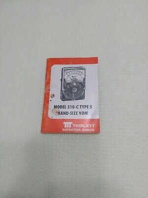 Triplett Instruction Manual Model 310 C Type 5 Hand Size Vom Used