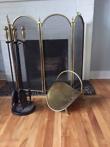 Fireplace tools, screen and log caddy. Cast iron and brass