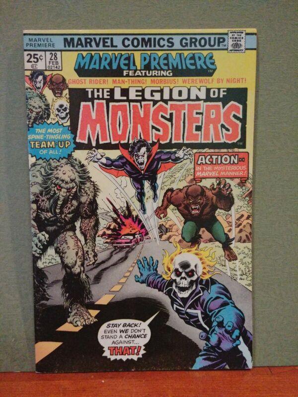 Marvel Premiere #28 6.0+ , 1st Legion of Monsters Ghost Rider Morbius! Comics