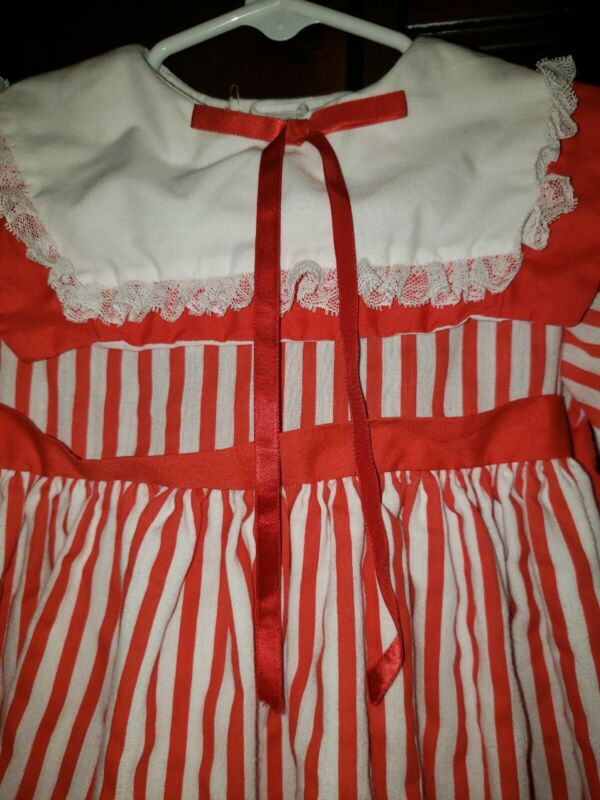 Vintage Martha's Miniatures Red White Striped Dress 4T Long Sleeves VERY RARE!