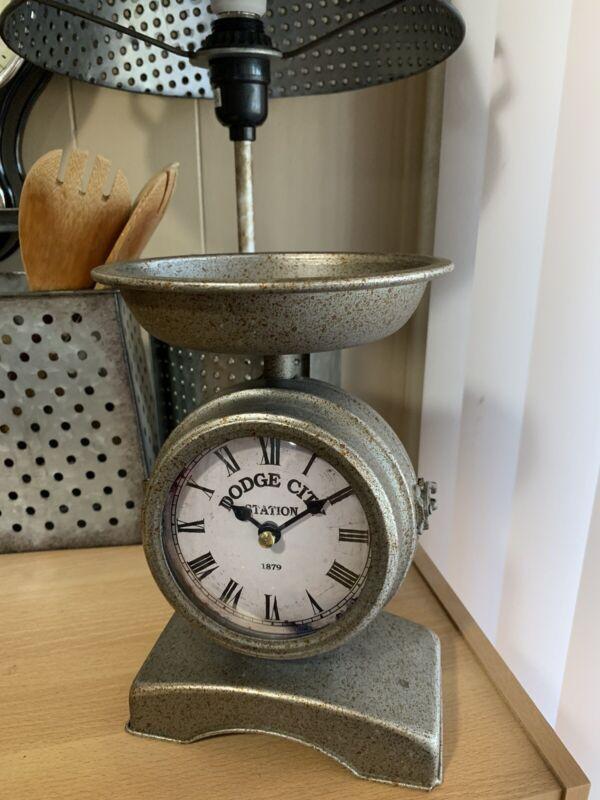 Vintage Galvanized Scale Clock, Small Storage Compartment, Home Decor, Metal