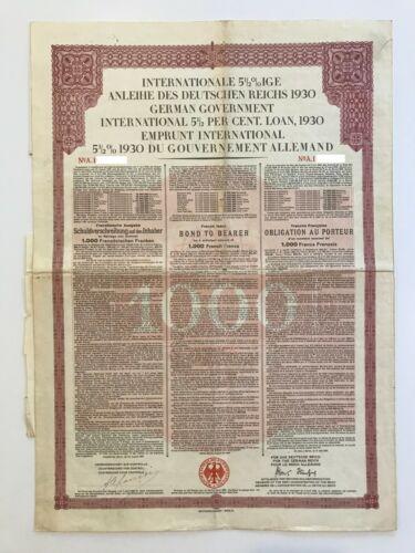 1930 German Government International 5 1/2% Loan – 1.000 Gold Bond