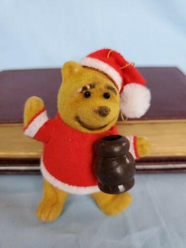 Disney Vintage FLOCKED POOH BEAR Christmas Ornament With Original Tag HONG KONG