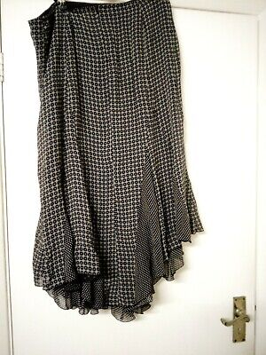 Black white spot + diamond patchwork flippy skirt 14 16 iBlues boho salsa lined