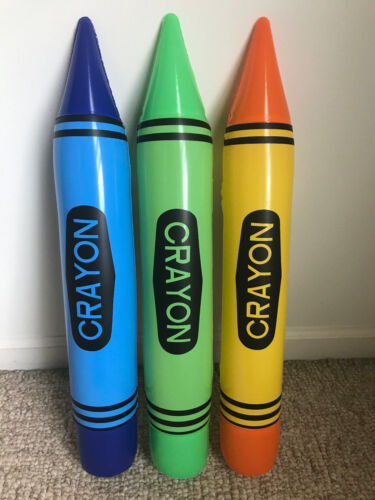 """23"""" Inflatable Crayon Blow Up Pick Blue, Green or Yellow - Big Crayon Inflate"""