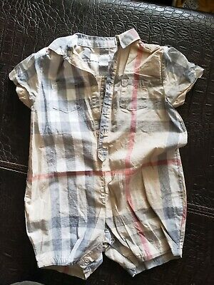 AUTHENTIC BURBERRY baby SZ 6-12M TAN CHECK INFANT BABY ROMPER JUMPSUIT COVERALL