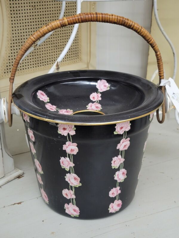 Rare Antique English Crown Ducal Chintz Chamber Pot - Pink Roses Bamboo Handles