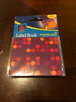 Avery Label Book 50 Removable Fully Adhesive Labels 2 Sizes Purpleorange New