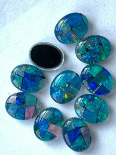 10 Genuine & Vintage Black Opal Triplets / Cabs - 9x7mm - Great Flecks of Color