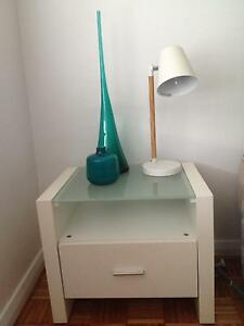 White tempered glass bedside tables Ryde Ryde Area Preview