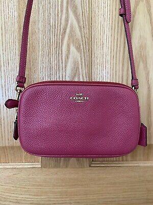 Brand NewCoach Sadie Leather Crossbody Clutch Bag, Dusty Pink