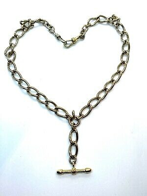 "Antique Gold Tone Albert Watch Chain or Stylish T-Bar Necklace 16"" 45 grams"