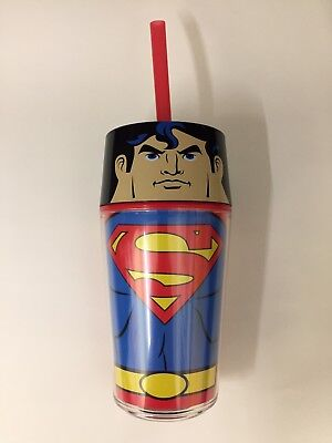ZAK! SUPERMAN Insulated Tumbler with Straw and Lid DC Super Hero Cup 14oz New (Tumblers With Lids And Straws)