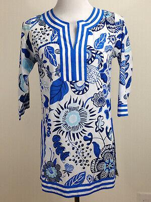 GRETCHEN SCOTT 3/4sl 'Isabel's Garden' Cotton Split Neck Tunic - XS, Blue White Cotton Split Neck Tunic
