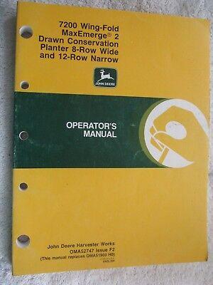 John Deere 7200 Maxemerge 2 Wing-fold 8 Rw-12-rn Con. Planter Operators Manual