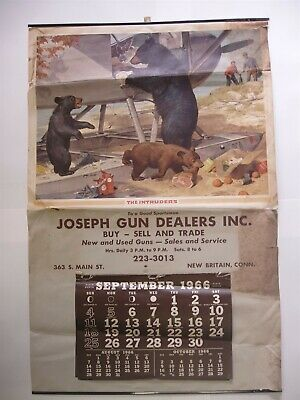 Rare Original 1966 Joseph Guns New Britain Conn Calendar The Intruders Bears