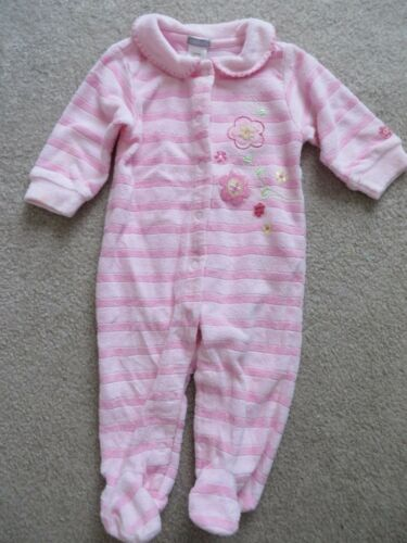 Carters Baby Girl Pink Striped Embroidered Footed Sleeper Size 6 Months EUC