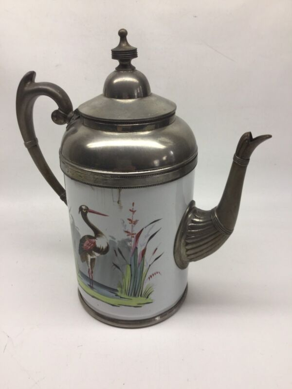 Antique Enamelware And Pewter 19th Century Coffee Pot With Heron