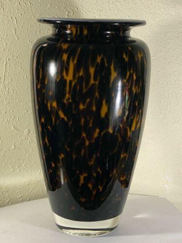 """Dark Tortoiseshell Leopard Blown Cased Glass Elegant 11 1/8"""" Vase"""