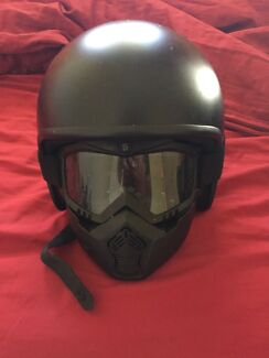 Motorbike open face helmet and mask