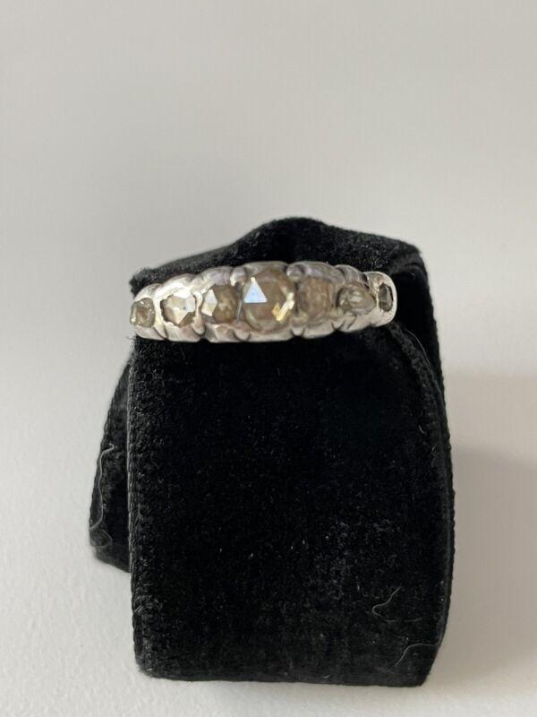 georgian half hoop rose cut diamond ring