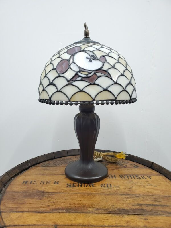 MICKEY MINNIE MOUSE LAMP STAINED GLASS TIFFANY STYLE RARE TABLE DISNEY