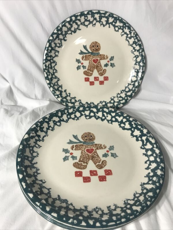 4 Folk Craft Gingerbread Man Christmas Dinner Plates Tienshan Green Spongeware!