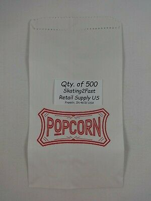 500 Qty. 1.5 oz Popcorn Paper Snack Sacks Bags Concession supplies 5.5