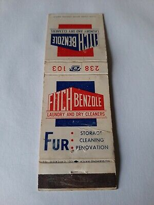 Vintage Fitch Benzole Laundry & Dry Cleaners Fur Storage Matchbook Cover