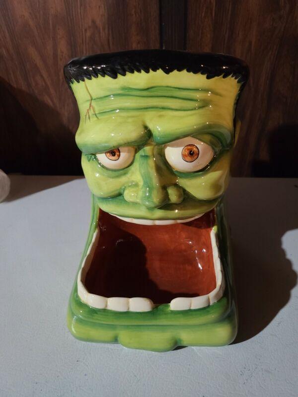 Rare Ceramic Frankenstein Candy Dish Halloween Designpac Inc