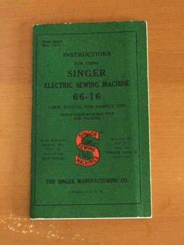 Singer Electric Sewing Machine Instruction Manual  66-16