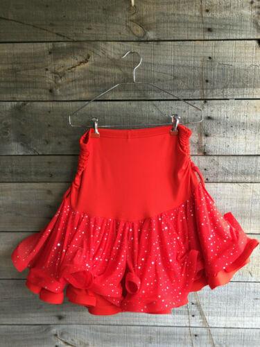 Women's Ballroom Dance Ruffle Mini Skirt Skort XL Red Flouncy Latin Tango Salsa