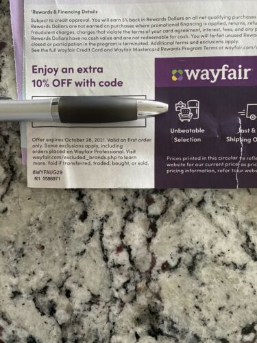 WAYFAIR.com Coupon/Discount 10 Off Your First Order Exp. 10/28/2021 Sent Fast - $3.49