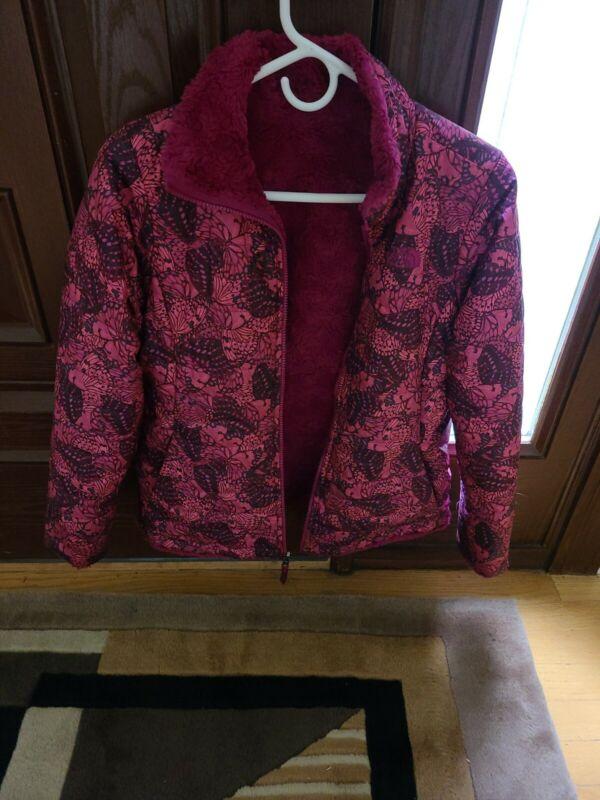 EUC Girls Mossbud Reversible Pink Fleece Winter Jacket Large