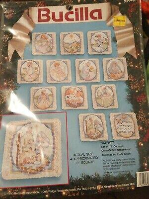 Nativity Counted Cross Stitch Ornament Kit Set of 12 Bucilla 83045 Linda Gillum