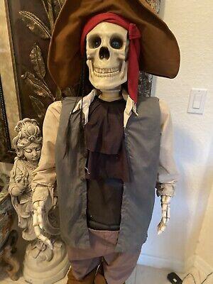 4' Animated Pirate Skeleton Gemmy Halloween Prop Dancing Life Size Spirit RARE