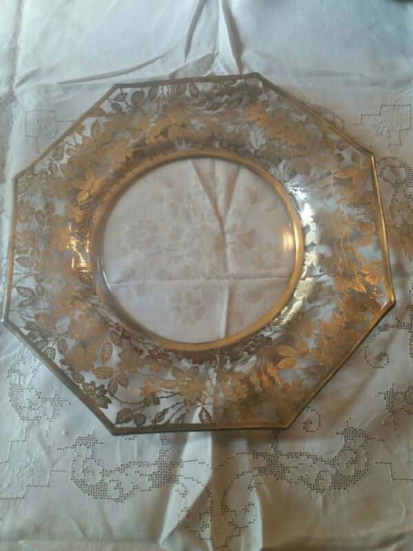 "Stunning Antique Sterling Silver Floral Overlay Serving Plate 14 1/2"" Etched"