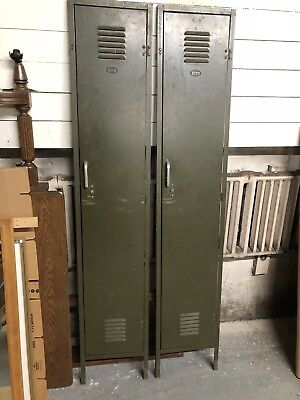 Green Gardner Mfg Mid Century Gym Lockers Fronts Only Vintage Industrial Steel