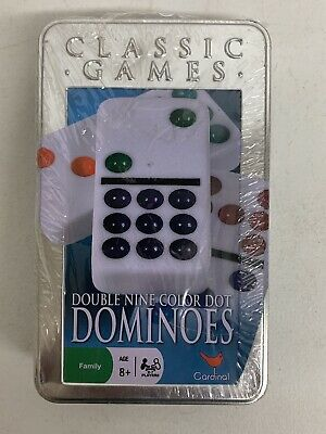 Double Nine Dominoes 55 Color Dot Dominoes Tin Case Brand New Sealed Ships Free