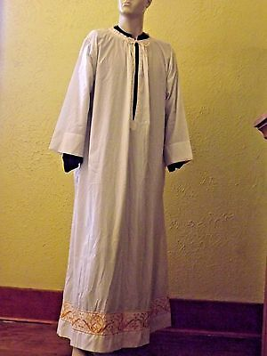Vintage Gold Embroidered Alb Vestment for Priest