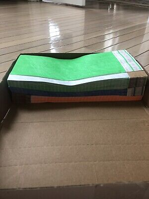 New Tyvek Wristbands Lot Of 500 34 X 10 Orange Green Blue