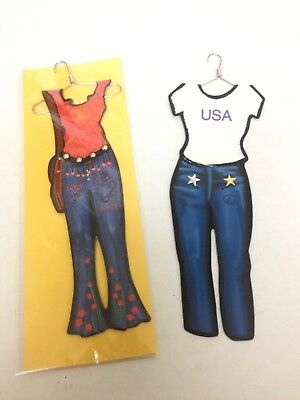 Hang Up Bookmarks Lot Of 2 Cute Hippie & All American Girl Outfit Bookworm - Cute Hippie Outfit
