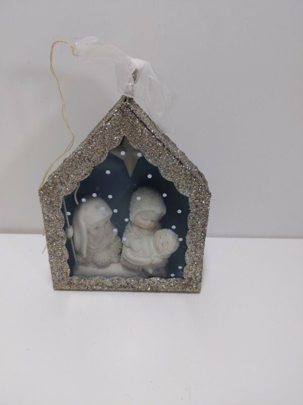 Department 56 Snow Babies Nativity Scene in a silver barn sealed