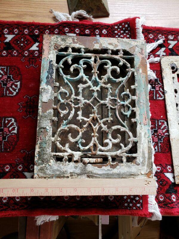 """Cast Iron Antique Rectangular Floor Grate Register Vent louvers about 9x11.5"""""""