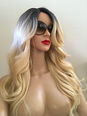 Synthetic Safe (Blonde Wig Ombre Synthetic 24 Inch Long Wavy Heat Safe Dark Roots-Color 613)