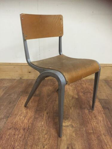 vintage metal and bent wood industrial chairs, school, Study Desk chairs